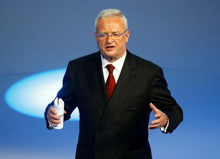 Martin Winterkorn gives his closing speech during the Volkswagen group night ahead of the Frankfurt Motor Show (IAA) in Frankfurt, Germany, September 14, 2015. REUTERS/Kai Pfaffenbach/Files