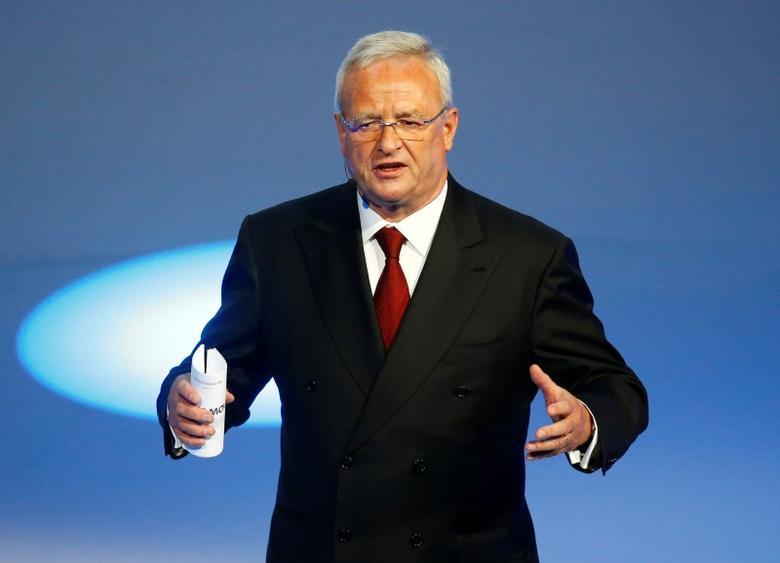 Volkswagen CEO Martin Winterkorn gives his closing speech during the Volkswagen group night ahead of the Frankfurt Motor Show (IAA) in Frankfurt, Germany, September 14, 2015. REUTERS/Kai Pfaffenbach/File Photo