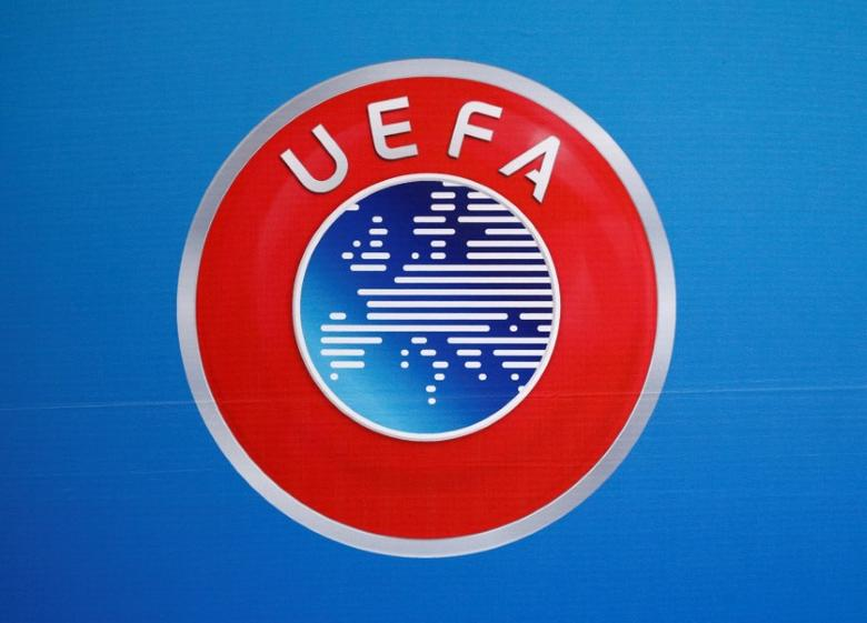 A logo is pictured on a backdrop before a news conference after an UEFA Executive Board meeting in Nyon, Switzerland, December 9, 2016. REUTERS/Denis Balibouse
