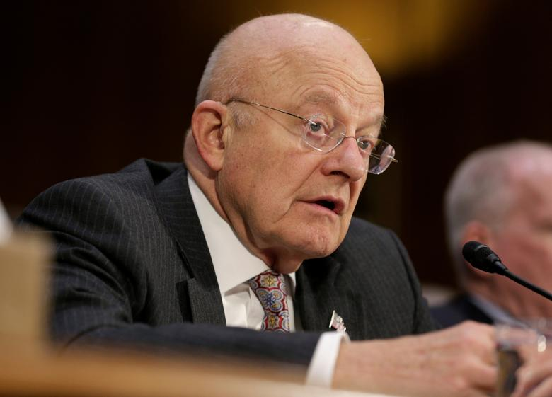 "Director of National Intelligence (DNI) James Clapper testifies to the Senate Select Committee on Intelligence hearing on ""Russia's intelligence activities'' on Capitol Hill in Washington, U.S. January 10, 2017. REUTERS/Joshua Roberts"