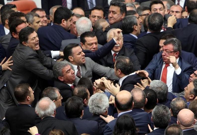 Turkish deputies brawl during debate on constitutional reform