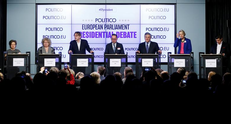 European Parliament's presidential candidates (L-R) Eleonora Forenza, Jean Lambert, Guy Verhofstadt, Gianni Pittella, Antonio Tajani, Helga Stevens and Laurentiu Rebega attend a debate organized by the political news organization POLITICO in Brussels, Belgium January 11, 2017. REUTERS/Francois Lenoir