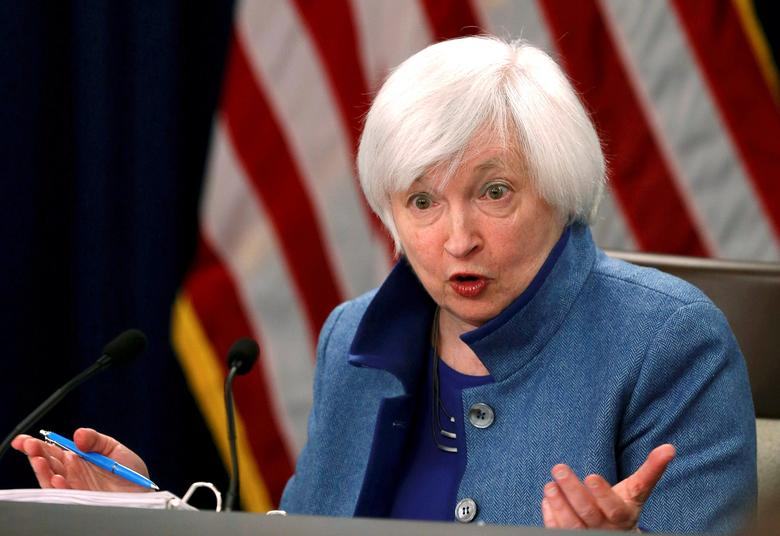 FILE PHOTO:  Federal Reserve  Chair Janet Yellen holds a news conference following day two of the Federal Open Market Committee (FOMC) meeting in Washington, U.S. on December 14, 2016.  REUTERS/Gary Cameron/File Photo