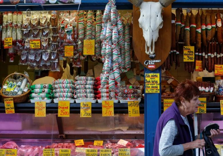 A shopper walks by the stand of a meat vendor at the Grand Market hall in Budapest, Hungary, May 15,  2016. REUTERS/Laszlo Balogh