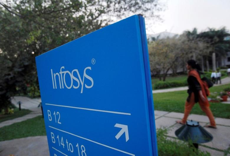 An employee walks past a signage board in the Infosys campus at the Electronics City IT district in Bangalore, February 28, 2012. REUTERS/Vivek Prakash/File Photo