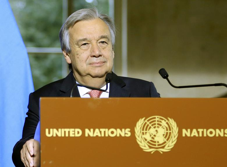 United Nations Secretary General Antonio Guterres addresses a news conference after the Conference on Cyprus at the European headquarters of the United Nations in Geneva, Switzerland, January 12, 2017. REUTERS/Pierre Albouy