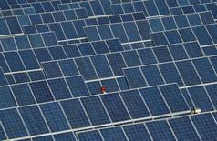 La inversión en energías limpias en todo el mundo se redujo un 18 por ciento el año pasado hasta los 287.500 millones de dólares debido a las fuertes caídas en los precios de las tecnologías renovables y el menor gasto en proyectos en grandes mercados como China y Japón, mostró un informe el jueves. En la imagen de archivo, se ve a un empleado caminando entre filas de paneles solares en una planta a las afueras de Dunhuang, en la provincia china de Gansu, el 10 de junio de 2011. REUTERS/Stringer