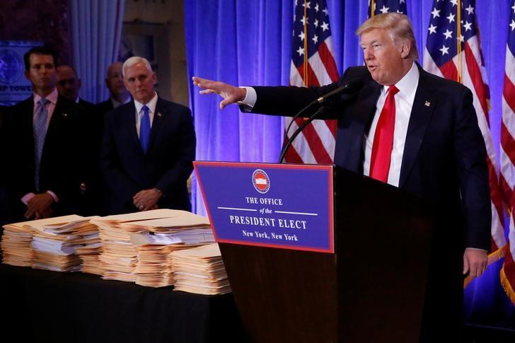 """U.S. President-elect Donald Trump speaks during a news conference in Trump Tower, Manhattan, New York, U.S., January 11, 2017. REUTERS/Shannon Stapleton. """""""