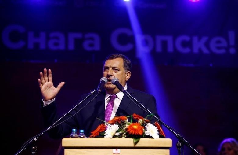 Milorad Dodik, President of Republika Srpska, speaks in Pale, Bosnia and Herzegovina, September 25, 2016. REUTERS/Dado Ruvic