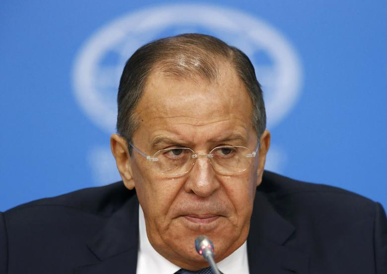 Russian Foreign Minister Sergei Lavrov speaks during a news conference, dedicated to Russia's foreign policy in 2016, in Moscow, Russia, January 17, 2017. REUTERS/Sergei Karpukhin