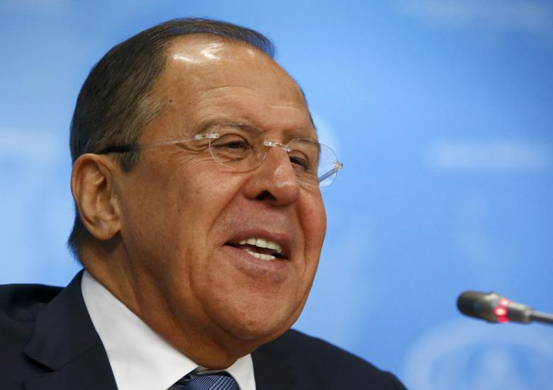 Russian Foreign Minister Sergei Lavrov reacts during a news conference in Moscow, Russia, January 17, 2017. REUTERS/Sergei Karpukhin