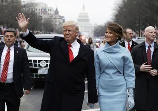 Trump walks to the White House