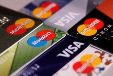 MasterCard, VISA and Maestro credit cards are seen in this picture illustration taken June 9, 2016. REUTERS/Maxim Zmeyev/Illustration