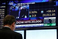Трейдер на торгах Нью-Йоркской фондовой биржи 25 января 2017 года. Акции США завершили практически без изменений торги четверга после двухдневного ралли, которое позволило Dow Jones превысить отметку в 20.000 пунктов, в то время как инвесторы оценивали новую порцию корпоративной отчетности. REUTERS/Brendan McDermid