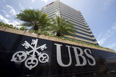 FILE PHOTO: The logo of UBS is seen outside the building housing the headquarters of the Swiss bank in San Juan, Puerto Rico, July 31, 2015. REUTERS/Alvin Baez/File Photo