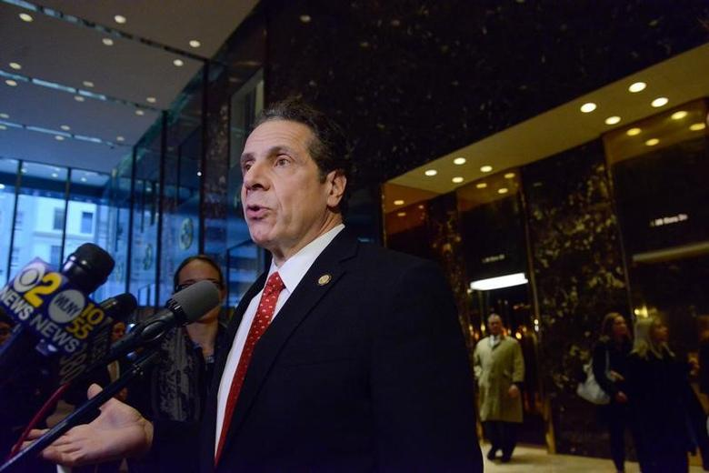 Andrew Cuomo, Governor of New York, speaks to members of the press at Trump Tower in New York City, U.S. January 18, 2017. REUTERS/Stephanie Keith
