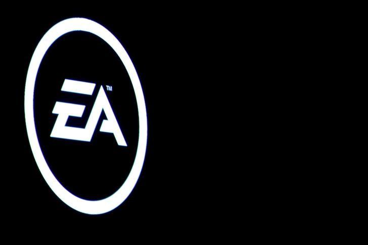 The Electronic Arts Inc., logo is displayed on a screen during a PlayStation 4 Pro launch event in New York City, U.S., September 7, 2016.  REUTERS/Brendan McDermid/File Photo