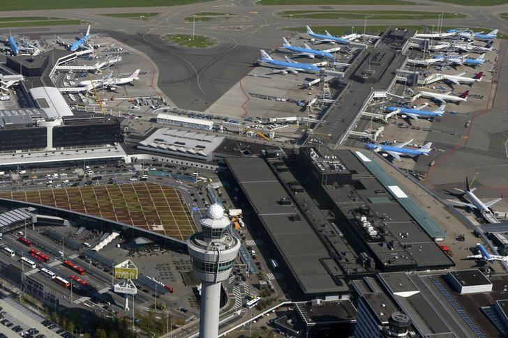 FILE PHOTO - Aerial view of Schiphol airport near Amsterdam April 9, 2014.   REUTERS/Yves Herman