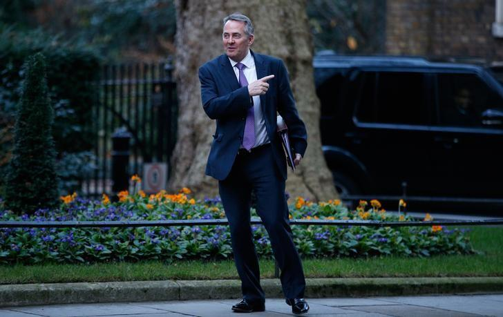 Britain's Secretary of State for International Trade Liam Fox gestures as he leaves 10 Downing Street, London, January 17, 2017.  REUTERS/Peter Nicholls