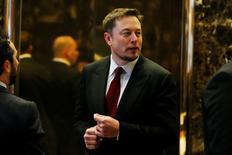 Tesla Chief Executive, Elon Musk enters the lobby of Trump Tower in Manhattan, New York, U.S., January 6, 2017. REUTERS/Shannon Stapleton