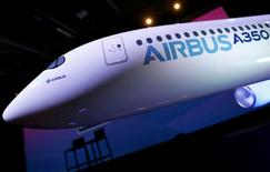 The logo of Airbus is pictured on a scale model during the annual Airbus Commercial Press Briefing in Blagnac, Southwestern France, January 11, 2017.   REUTERS/Regis Duvignau/File Photo