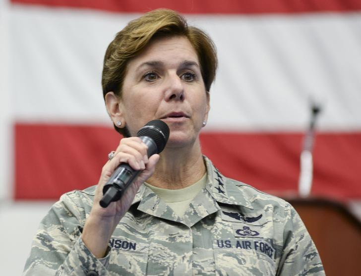 FILE PHOTO - U.S. Air Force General Lori Robinson, Pacific Air Forces commander, addresses airmen at Andersen Air Force Base, Guam July 10, 2015. REUTERS/U.S. Air Force/Senior Airman Katrina M. Brisbin/Handout via Reuters