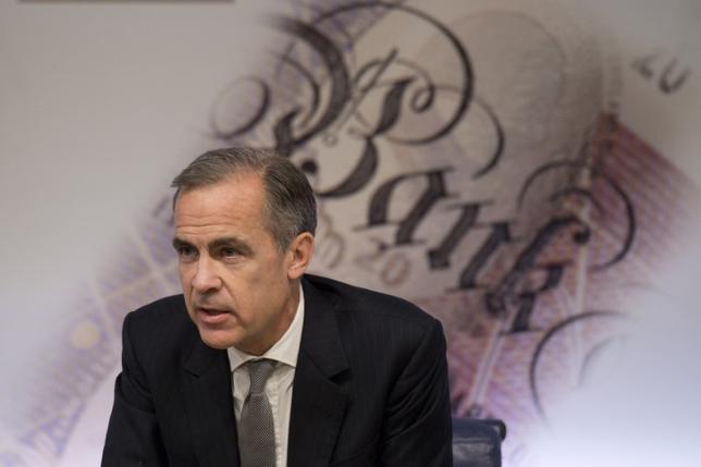 2月2日、英中銀は2017年の成長予想を引き上げ、英景気の先行きに明るい見通しを示した。金融政策委員会メンバーの一部はポンド安を背景とするインフレ加速への懸念を表明したが、総じて利上げを急がない姿勢を示唆した。写真は2016年11月、記者会見する英中銀のカーニー総裁(2017年 ロイターJustin Tallis)