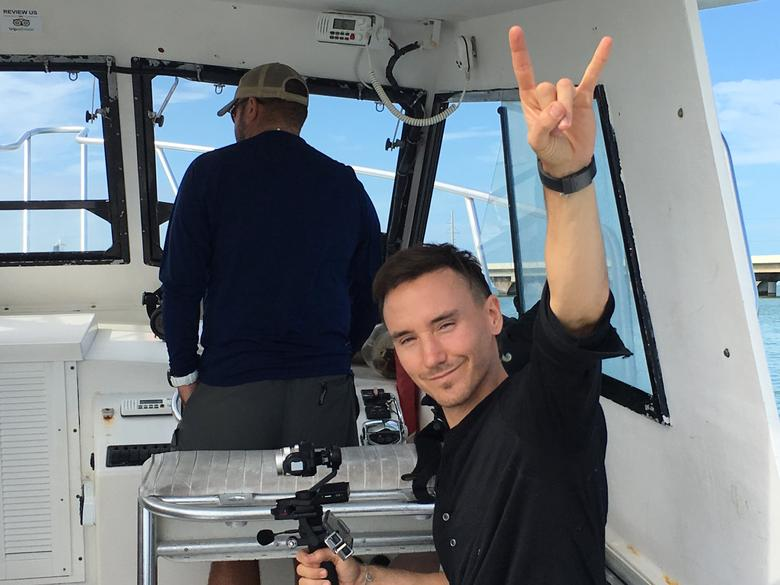 Canadian documentary filmmaker and environmental activist Rob Stewart is seen on a boat off the coast of Florida before he went missing on Tuesday, January 31, 2017.  Courtesy of the Stewart family/Handout via REUTERS