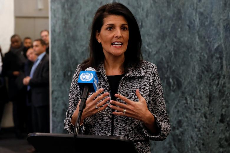 Newly appointed U.S. Ambassador to the United Nations Nikki Haley makes a statement upon her arrival at U.N. headquarters in New York City, NY, U.S. January 27, 2017. REUTERS/Mike Segar