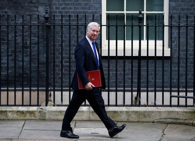 Britain's Defence Secretary Michael Fallon leaves a cabinet meeting in Downing Street, London, January 17, 2017. REUTERS/Peter Nicholls/Files