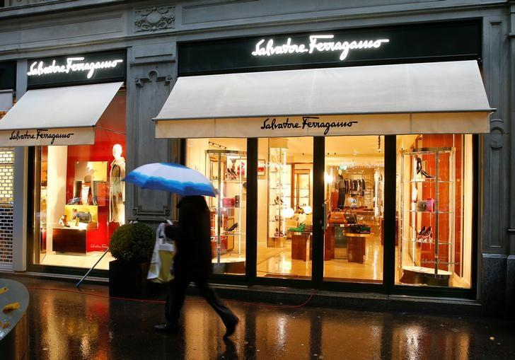 Italian luxury fashion house Salvatore Ferragamo's logo is seen at a store in Zurich, Switzerland October 26, 2016.   REUTERS/Arnd Wiegmann