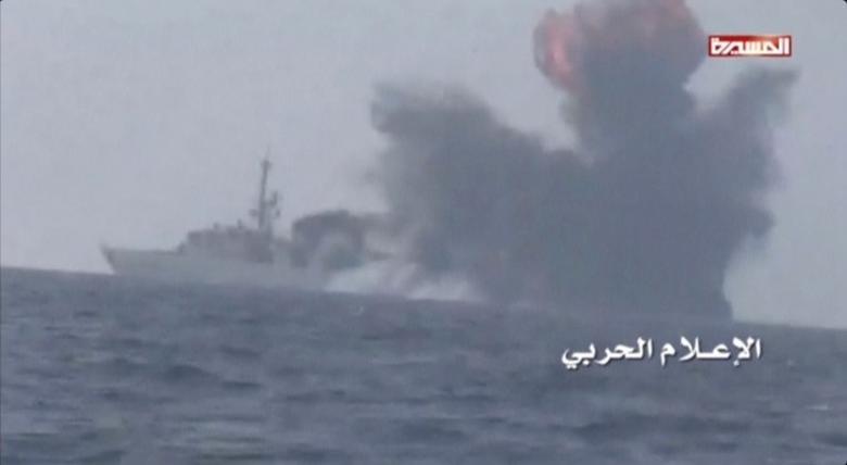 An explosion is seen onboard what is believed to be a Saudi warship, off the western coast of Yemen, earlier this week.  Al-Masirah/Handout via Reuters Tv