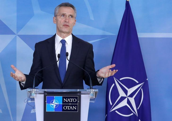 NATO Secretary General Jens Stoltenberg speaks during a news conference at the NATO Headquarters in Brussels, Belgium, February 1, 2017. REUTERS/Yves Herman