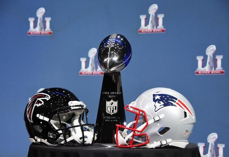 Feb 1, 2017; Houston, TX, USA; A general view of the Atlanta Falcons and New England Patriots next to the Vince Lombardi Trophy prior to a press conference in preparation for Super Bowl LI at George R. Brown Convention Center. Mandatory Credit: Kirby Lee-USA TODAY Sports