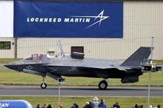 A US Marine Corps Lockheed Martin F-35B fighter jet taxis after landing at the Royal International Air Tattoo at Fairford, Britain July 8, 2016.  REUTERS/Peter Nicholls