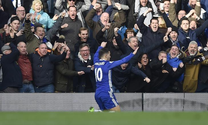 Britain Football Soccer - Chelsea v Arsenal - Premier League - Stamford Bridge - 4/2/17 Chelsea's Eden Hazard celebrates scoring their second goal  Reuters / Hannah McKay Livepic