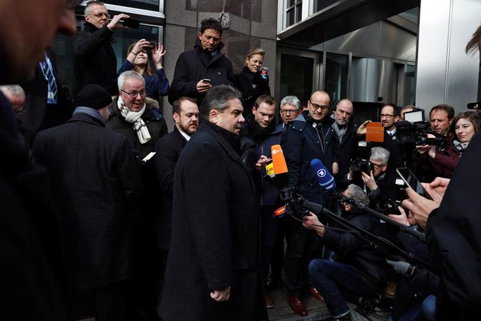 German Foreign Minister Sigmar Gabriel speaks to the media outside of German House in New York, U.S., February 3, 2017. REUTERS/Lucas Jackson