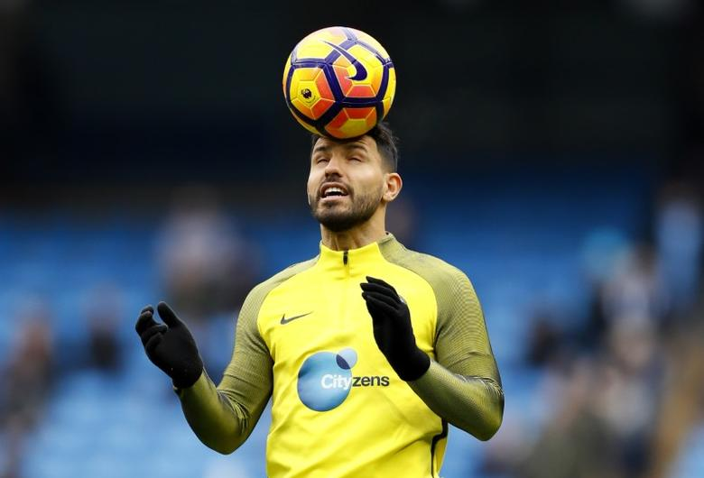Britain Soccer Football - Manchester City v Swansea City - Premier League - Etihad Stadium - 5/2/17 Manchester City's Sergio Aguero warms up before the match  Action Images via Reuters / Jason Cairnduff Livepic