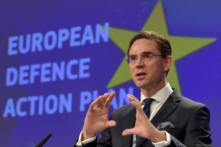 European Commission Vice-President Jyrki Katainen holds a news conference on the European Defence Action Plan in Brussels, Belgium November 30, 2016. REUTERS/Eric Vidal