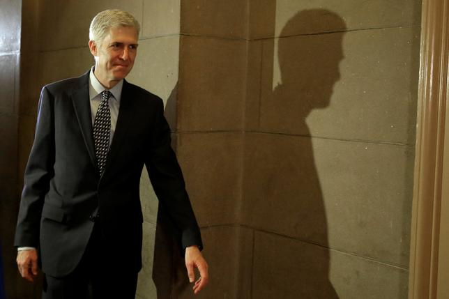 U.S. Supreme Court nominee Judge Neil Gorsuch arrives for a meeting with Senator Ted Cruz (R-TX) on Capitol Hill in Washington, U.S., February 2, 2017. REUTERS/Yuri Gripas