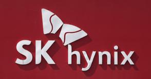 The logo of SK Hynix is seen in its plant in Icheon, about 80 km (50 miles) southeast of Seoul May 13, 2013. REUTERS/Lee Jae-Won