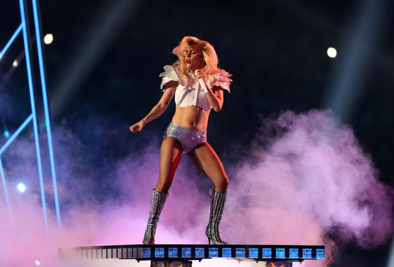 Feb 5, 2017; Houston, TX, USA; Lady Gaga performs during the halftime show during Super Bowl LI at NRG Stadium. Kevin Jairaj-USA TODAY Sports/File Photo
