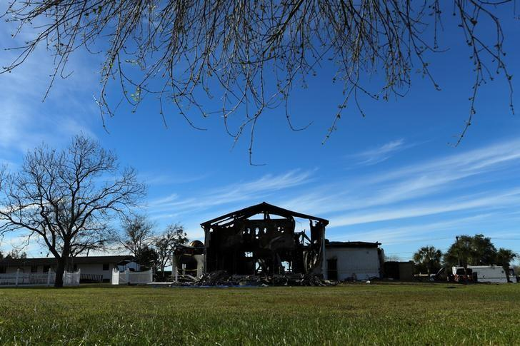 The structure of a mosque is seen one day after a fire at the Victoria Islamic Center inn Victoria, Texas January 29, 2017.  REUTERS/Mohammad Khursheed