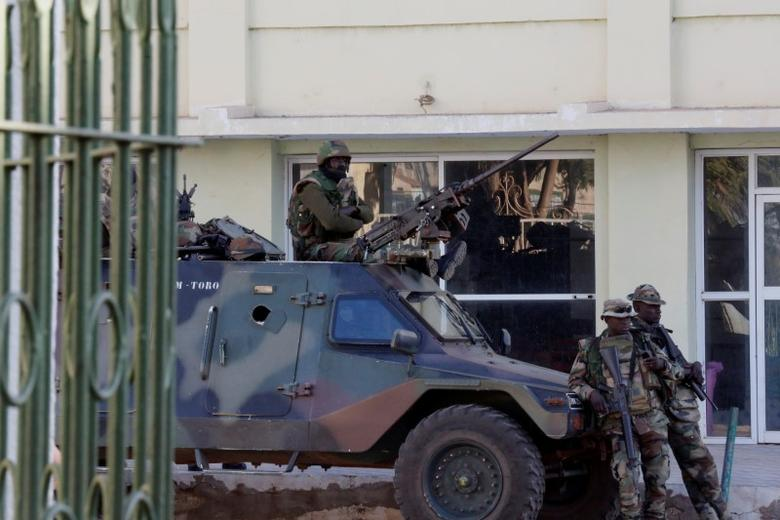 Members of the regional ECOWAS force keep guard at Presidence palace in Banjul, Gambia January 23, 2017. REUTERS/Thierry Gouegnon