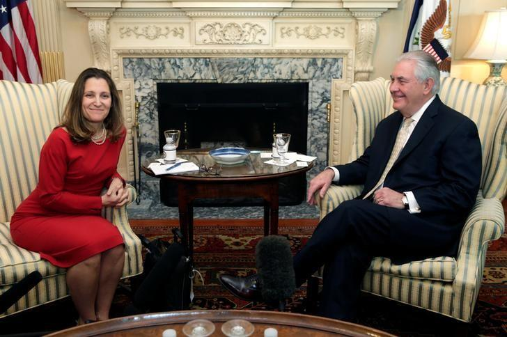 U.S. Secretary of State Rex Tillerson meets with Canadian Foreign Minister Chrystia Freeland at the State Department in Washington, U.S. February 8, 2017. REUTERS/Yuri Gripas