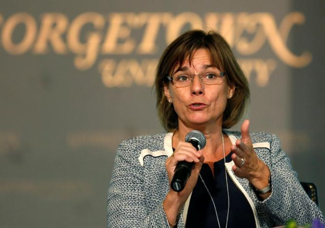 Sweden's Deputy Prime Minister for International Development Cooperation and Climate Isabella Lovin delivers remarks at the 'Our Ocean' conference at Georgetown University in Washington, U.S., September 16, 2016. REUTERS/Gary Cameron