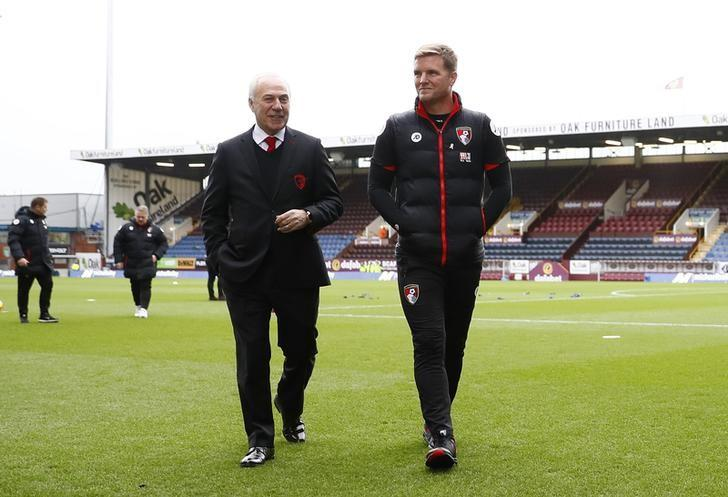 Football Soccer Britain - Burnley v AFC Bournemouth - Premier League - Turf Moor - 10/12/16 Bournemouth manager Eddie Howe with chairman Jeff Mostyn before the match Action Images via Reuters / Jason Cairnduff Livepic/File Photo