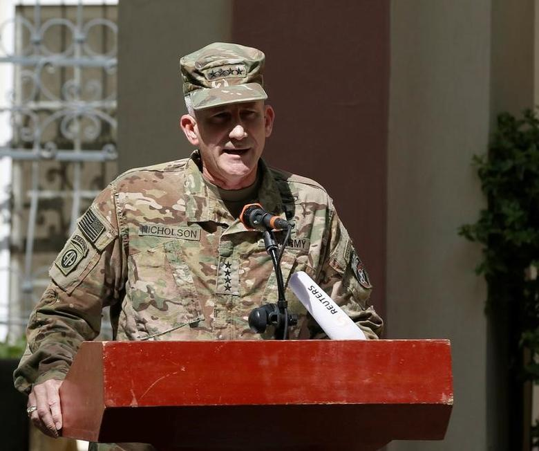 File Photo: U.S. Army General John Nicholson, Commander of Resolute Support forces and U.S. forces in Afghanistan, speaks during a memorial ceremony to commemorate the 15th anniversary of the 9/11 attacks, in Kabul, Afghanistan September 11, 2016. REUTERS/Omar Sobhani
