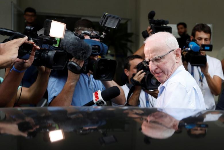 File photo: Former top European member of the International Olympic Committee (IOC), Patrick Hickey,  leaves a police station in Rio de Janeiro, Brazil, September 6, 2016. REUTERS/Ricardo Moraes