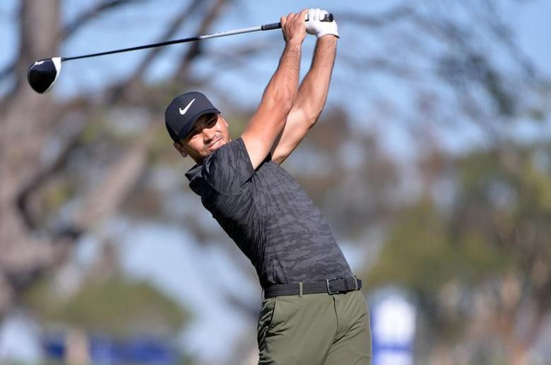 Jan 26, 2017; La Jolla, CA, USA;  Jason Day tees off the 5th hole during the first round of the Farmers Insurance Open golf tournament at Torrey Pines Municipal Golf Course. Mandatory Credit: Orlando Ramirez-USA TODAY Sports